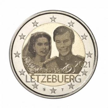 2 € юбилейная монета 2021 г. Люксембург - 40 лет со дня рождения наследного Великого Герцога Гийома и бракосочетание Великого Герцога Анри и Великой Герцогини Марии-Терезы (с голограммой)