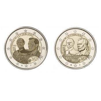 Luksemburgi  2021 a 2€ juubelimünt  - suurhertsog Jeani 100. sünniaastapäev. Komplekt.