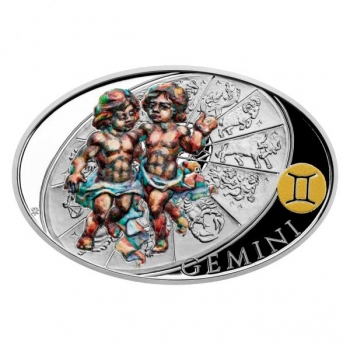 Horoskooppimerkit -  Kaksonen. Niue saarivaltio 2021 v. 1 $  99,9% hopearaha väripainatuksella. 31,1 g