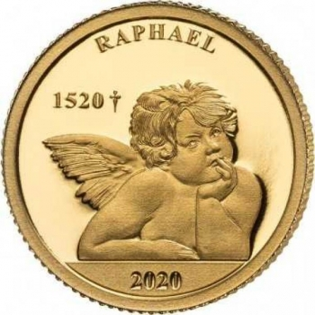 Raphaelin Enkeli. Salomonsaaret 10 $ 2020.v. 99,99% kultaraha 0,5 g