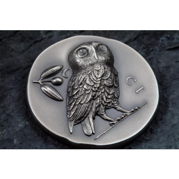 Athena Öökull -  Cooki saarte 5$ 2021.a. 1 untsine antiikviimistlusega 99,9% hõbemünt