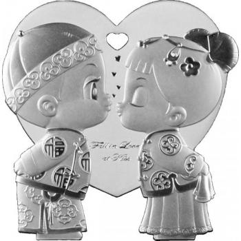 """""""Armunud suudeldes"""" - Niue 1$ 2021.a  99,9% hõbemünt-ripats 15,5 g"""