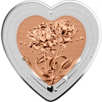 Rakkauspäivä - Romanttinen ruusu - Fiji 1 $ 2021.v. sydämen muotoinen 99,9% hopea/kupariraha, 37,4 g