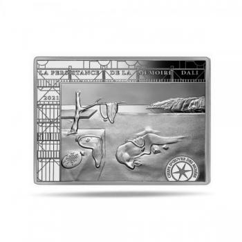 Шедевры музейной коллекции -  Сальвадор Дали. Постоянство памяти  - Франция 10 € 2021 г. 90% серебряная монета, 22,2 г.