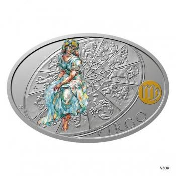 Знаки зодиака Дева- Острова Ниуэ  1 $ 2021 г. 99,9% серебряная монета с цветной печатью, 1 унция