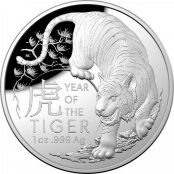 Tiigri aasta 2022.a - Austraalia 5 $ 1-untsine kuplikujuline  99,99% hõbemünt
