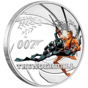 James Bond - Thunderball. Tuvalu 1/2$ 2021 coloured 99,9% silver coin. 15,53 g.