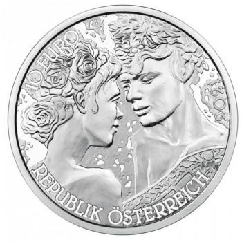 Любовь и страсть - Австрия 10€ 2021 г. 92,5% серебряная монета с цветной печатью. 15,552 гр