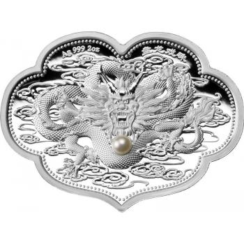 """Дракон с заветным желанием - """"Все идет хорошо"""" . Самоа 5$ 2022 г. 99,9% серебряная монета с настоящей жемчужиной, 62,2 г."""