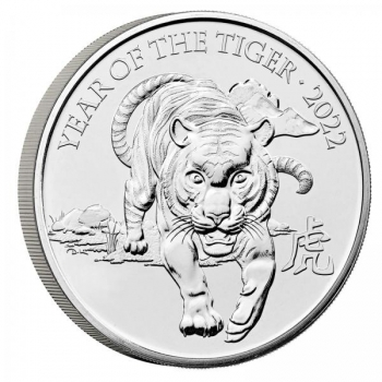 Год Тигра 2022  - Великобритания 2 £ 2020 года. 99.9% серебряная монета 31.1 г.