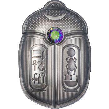 Scarabeus King Tut   Palau 5 $ 2021.v.  antiikkipatinoinoitu 1 unssi 99,9% hoperaha,  Swarovski®  jristalli