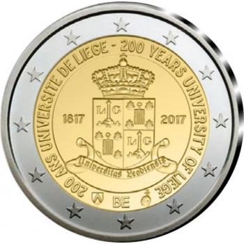 2 € юбилейная монета 2017 г.Бельгия  -200 лет с основания Льежского университета (фр. Université de Liège)