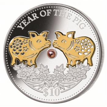 Sian vuosi 2019  Fiji 10 $ 99,9% hopearaha, 1 unssi, aito helmi ja kultaus