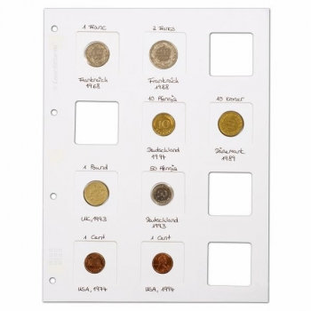 MATRIX coin holder sheets for 12 MATRIX coin holders each, White, Pack of 5