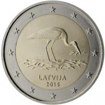 Läti 2 Eur 2015 juubelimünt- ohustatud liik – must-toonekurg