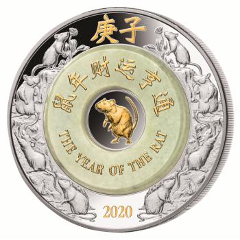 Rotan vuosi 2020 - Laos 2000 Kip 99,9% hopearaha, jadeiitti ja kultaus, 2 unssi