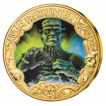 """«Франкенштейн или Современный Прометей"""" 200 лет от впервые опубликованного романа писательницы Мэри Шелли- 1$ Токелау 2018.г. Набор из трёх позолоченных монет с цветной печатью"""