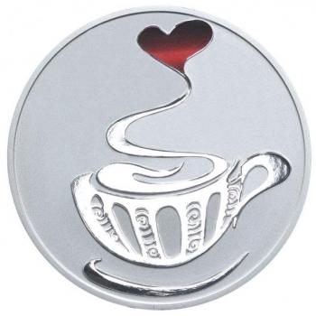 Любовь и Кофе- 99.9% серебряная монета с цветной печатью 2015 г. - 1 унция