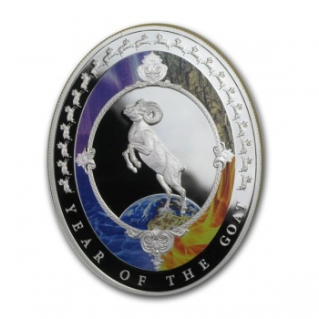 Год Козы 2015 г. - Токелау 2$,  99,9% серебряная монета с цветной печатью, 31,1 г