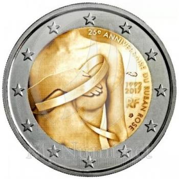 Prantsusmaa 2017. a 2 € juubelimünt -rinnavähivastase võitluse sümboli – roosa lindi – 25. aastapäev