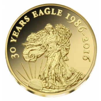 Орёл (монета США) -  99,9% золотая монета Республика Конго 2016 г. 0,5 гр