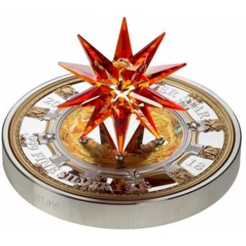 """ Crystal Giant"" - Moravia tähti - Cookinsaarten 100$ 2018.v. -  99,9% hopearaha, Swarovski® kristallia, 1 kilo"