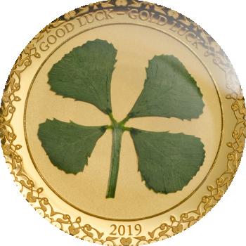Õnn kaasa! - Good Luck! - Palau 1 $ 2019.a. 1 grammine 99,9% kuldmünt ehtsa ristikheina lehega