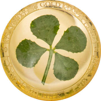 Four Leaf Clover 2021 - Palau 1$ 2021  99,99% gold coin with REAL four-leaf clover, 1 g