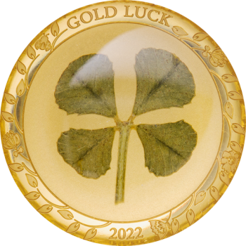 Four Leaf Clover 2022 - Palau 1$ 2021  99,99% gold coin with REAL four-leaf clover, 1 g
