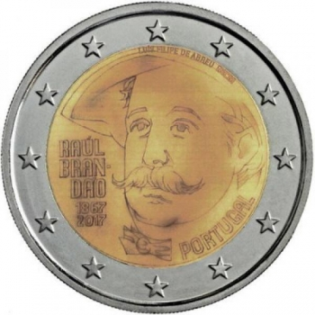 2 € юбилейная монета Португалия 2017 г. -150 лет со дня рождения писателя Раула Брандана