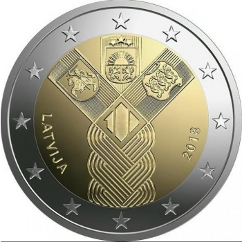 2 € юбилейная монета 2018 г. Латвия 100. лет независимости Балтииских стран