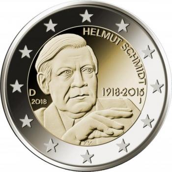 2 € юбилейная монета 2017 г. Германия - Гельмут Шмидт 100-лет со дня рождения