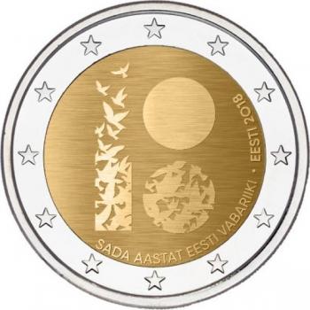 2 € юбилейная монета 2018 г. Эстония - Эстонская Республика 100 лет