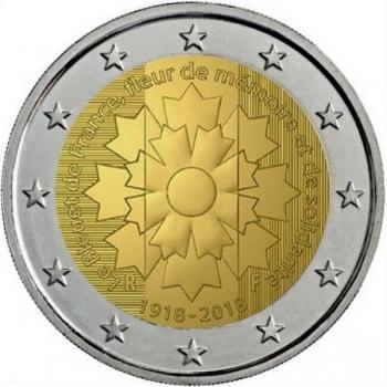 2 € юбилейная монета 2018  г.Франция - 100 лет с  окончания Первой мировой войны (Василёк Франции)