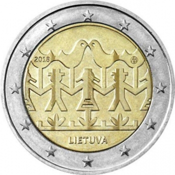 Lithuania 2€ commemorative coin 2018 - Lithuanian Song and Dance celebration (inscribed on the Unesco Representative List of the Intangible Cultural Heritage of Humanity)