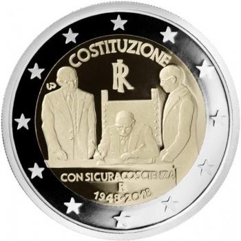 2 € юбилейная монета 2018 г. Италия  -70-летие конституции Итальянской Республики