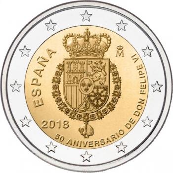 2 € юбилейная монета 2018 г.Испания  -50 лет со дня рождения короля Филиппа VI