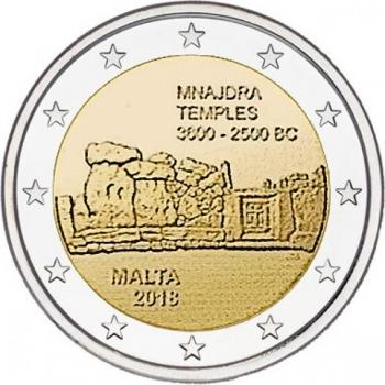 Malta 2018 a 2€ juubelimünt - UNESCO maailmapärandi nimistusse kantud Mnajdra templid