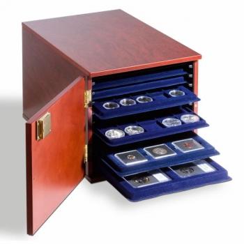 Puiduimitatsiooniga kast  10-le TAB mündialusele - mahagon