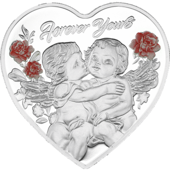 """""""Навсегда твой"""" 99,9% серебряная монета в виде сердца, Токелау 1$ 2019 г.  c цветной печатью  20 гp."""