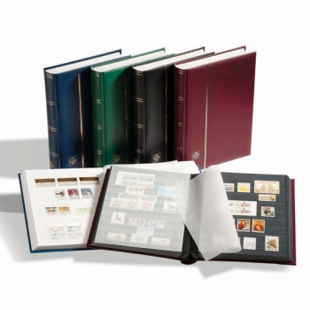 Stockbook COMFORT, Din A4, 64 black pages, padded cover, Burgundy