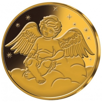 «Ангел хранитель» - Самоа 1/2$ 2018 г.  Медно-никелевая монета с позолотой