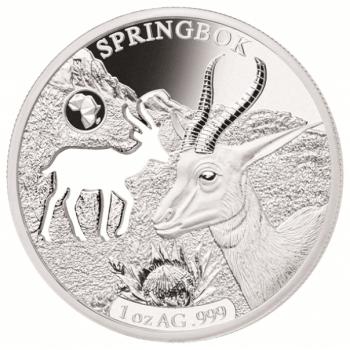Shapes of Africa. Cut-Out Silver Coin Collection Springbok. Djibouti 250 Fr 2019. 99,9% silver coin 1 oz