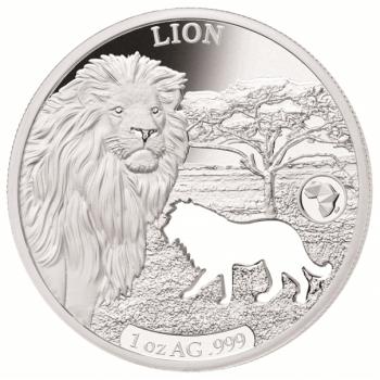 Lõvi - Aafrika loom- Djibouti 2018.a  1 untsine 99,9% hõbemünt laserlõikega