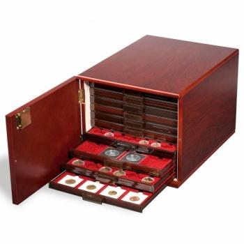 Puiduimitatsiooniga kast 10-le mündisahtlile - mahagon