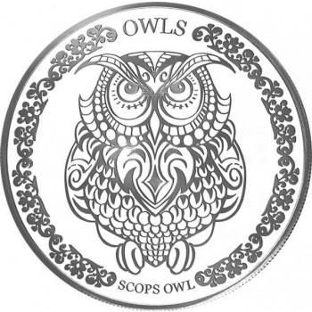 """Öökull - tarkuse sümbol"" -  Tokelau 2018.a. 99.9% hõbemünt 31,1 g"