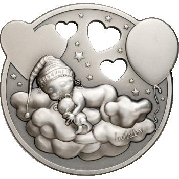 Väike printsess - Hällilaul. Cooki saarte 5$ 2019.a. 1 untsine 99,9% hõbemünt mängutoosiga