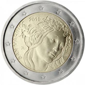 2 € юбилейная монета 2010  г.Сан -Марино -2011500 лет со дня смерти Сандро Боттичелли