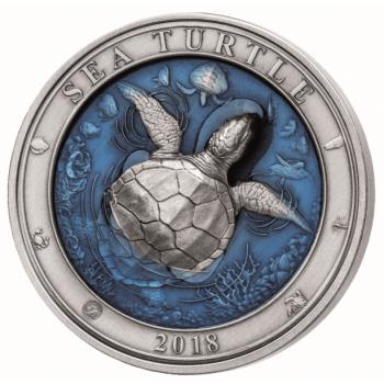 «Подводный мир -Черепаха» - Барбадос 2018 г.  99,9% серебряная монета выполнена в технике цветной печати с ультра высоким рельефом. 3 унция