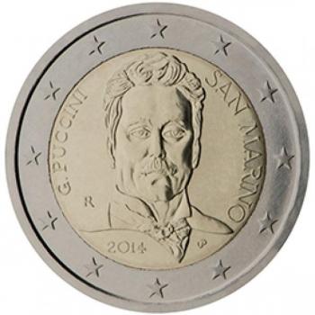 2 € юбилейная монета 2014  г.Сан -Марино -90 лет со дня смерти Джакомо Пуччини